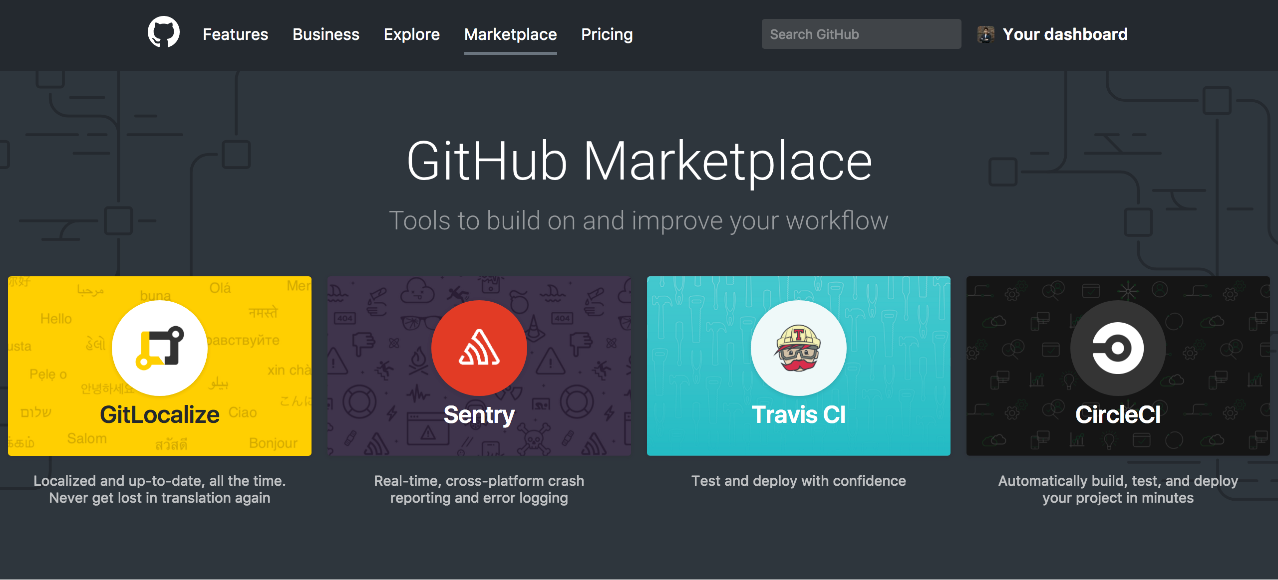 GitHub Marketplace top page